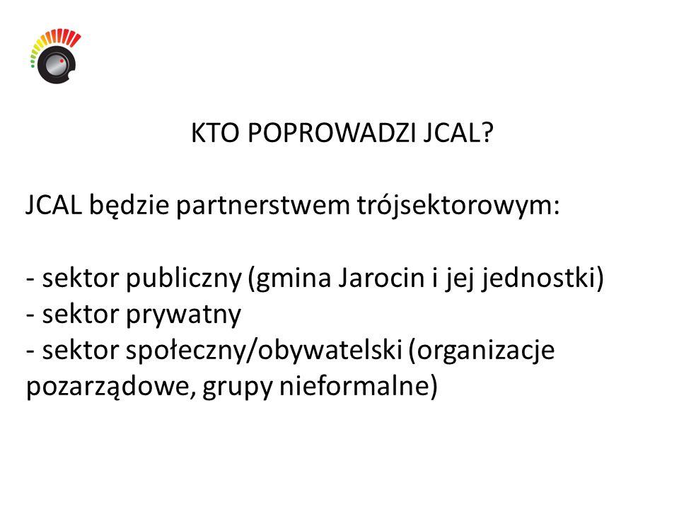 KTO POPROWADZI JCAL? JCAL będzie partnerstwem trójsektorowym: - sektor publiczny (gmina Jarocin i jej jednostki) - sektor prywatny - sektor społeczny/