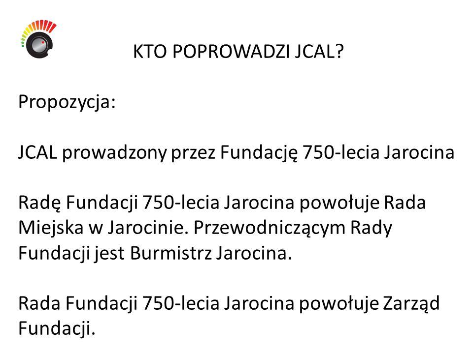 KTO POPROWADZI JCAL? Propozycja: JCAL prowadzony przez Fundację 750-lecia Jarocina Radę Fundacji 750-lecia Jarocina powołuje Rada Miejska w Jarocinie.