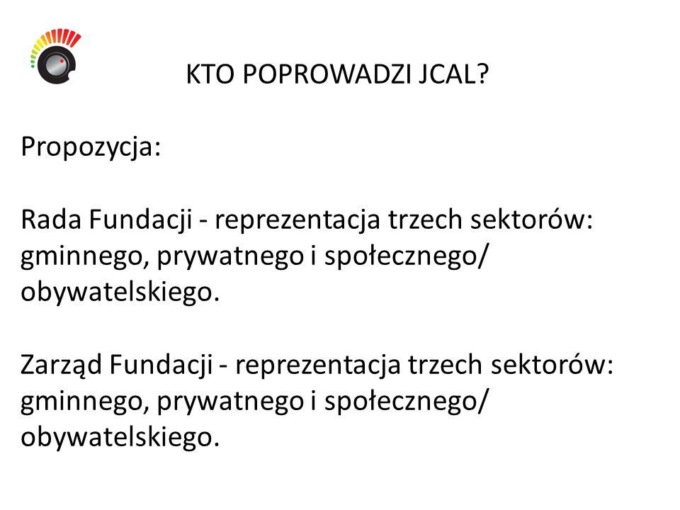KTO POPROWADZI JCAL? Propozycja: Rada Fundacji - reprezentacja trzech sektorów: gminnego, prywatnego i społecznego/ obywatelskiego. Zarząd Fundacji -