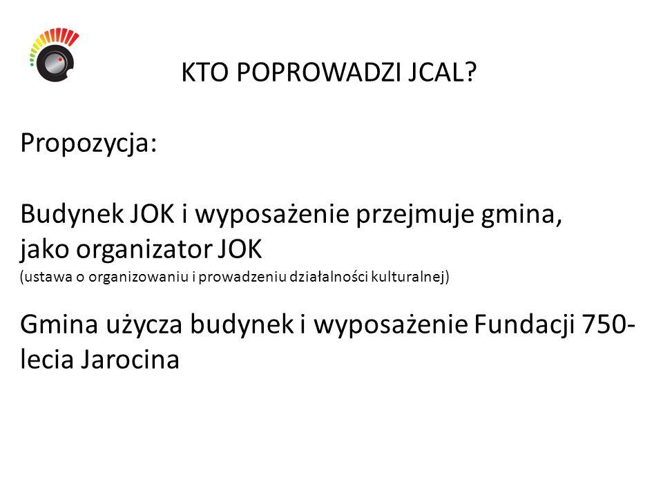 KTO POPROWADZI JCAL? Propozycja: Budynek JOK i wyposażenie przejmuje gmina, jako organizator JOK (ustawa o organizowaniu i prowadzeniu działalności ku