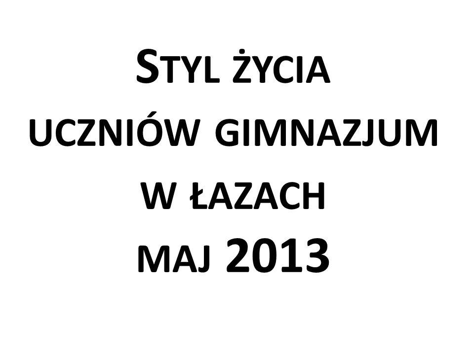 S TYL ŻYCIA UCZNIÓW GIMNAZJUM W ŁAZACH MAJ 2013