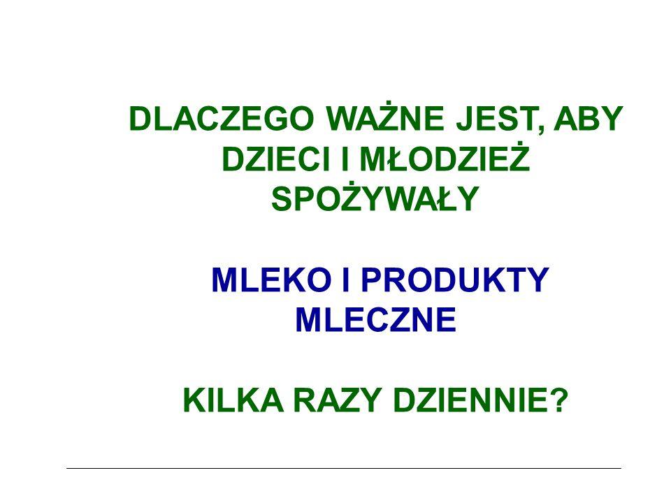 Wartość odżywcza mleka i produktów mlecznych (1) główne źródło wapnia, ważne źródło białka, ważne źródło witaminy B 2, ważne źródło witaminy B 12, źródło witaminy A, źródło witaminy B 1, źródło magnezu, źródło cynku,