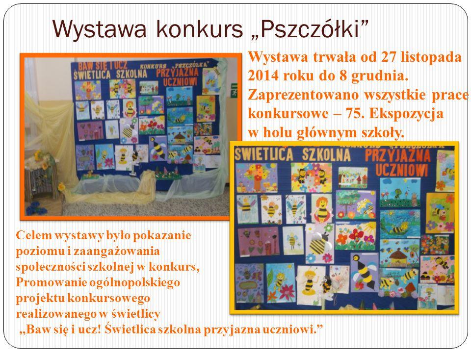 """Wystawa konkurs """"Pszczółki Wystawa cieszyła się dużym zainteresowaniem zarówno uczniów jak i osób odwiedzających szkołę."""