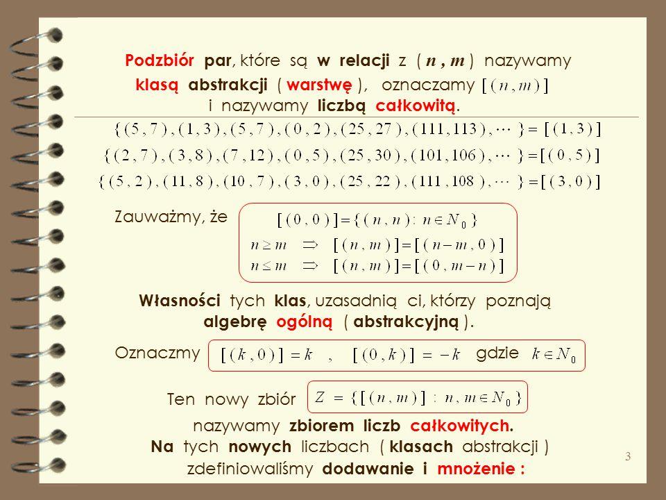 Poznaliśmy kilka wersji konstrukcji zbioru liczb całkowitych, Wiemy, że na pytanie ; należy odpowiedzieć pytaniem ; co to jest liczba ?, a o jaką licz