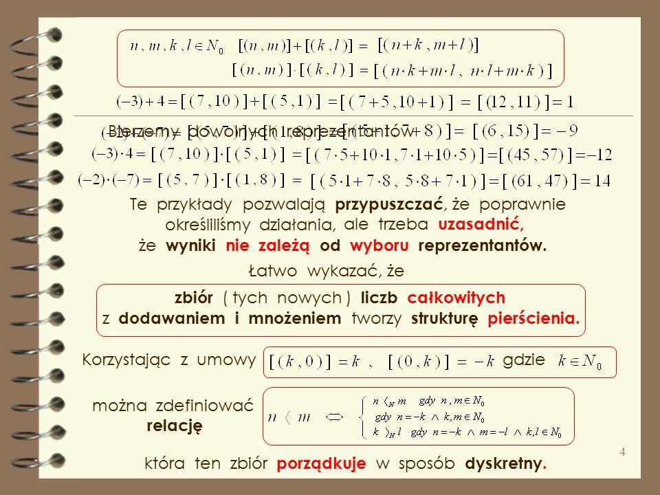 klasą abstrakcji ( warstwę ), oznaczamy i nazywamy liczbą całkowitą. Podzbiór par, które są w relacji z ( n, m ) nazywamy Zauważmy, że Oznaczmy zdefin