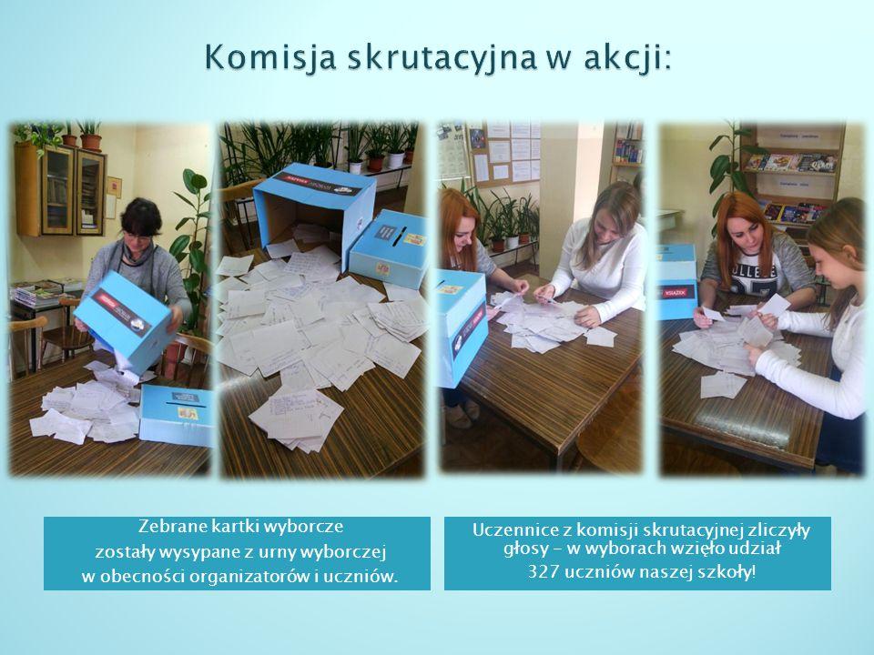 Zebrane kartki wyborcze zostały wysypane z urny wyborczej w obecności organizatorów i uczniów.