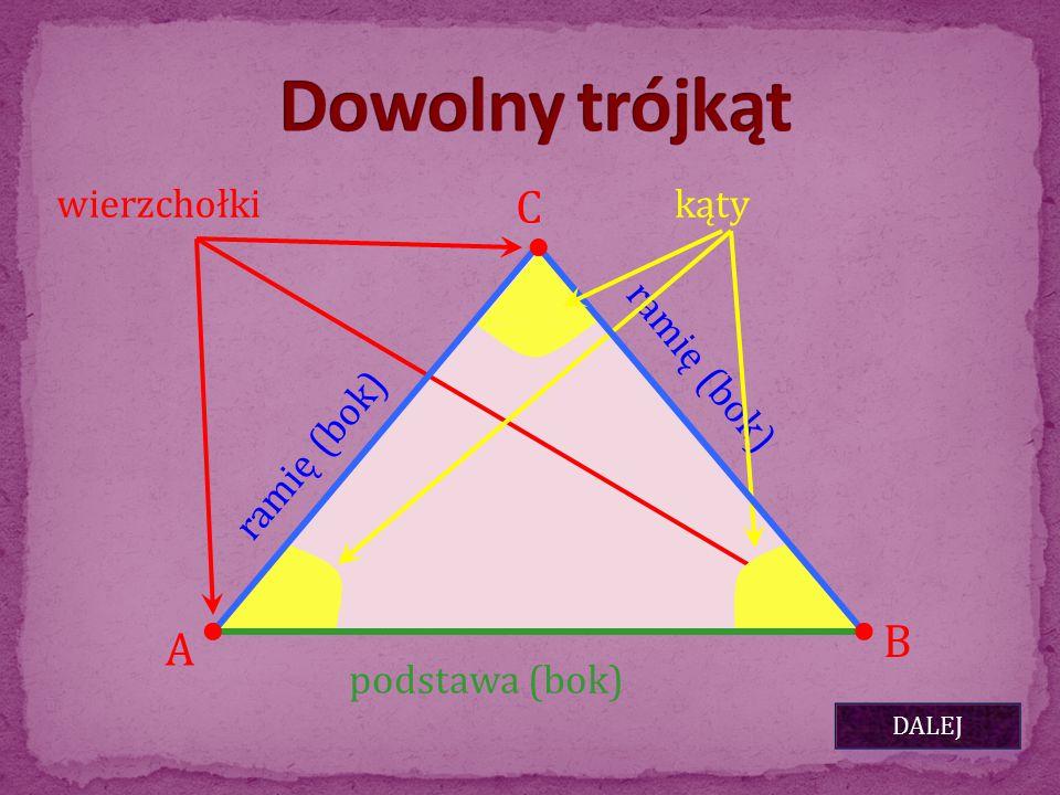 A B C ramię (bok) podstawa (bok) ramię (bok) wierzchołkikąty DALEJ