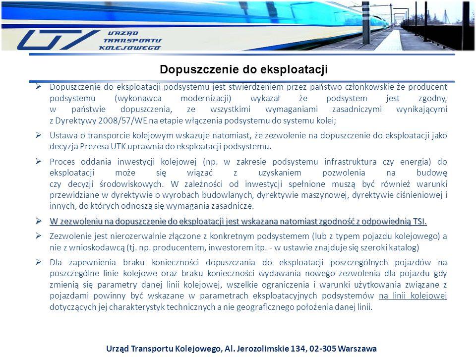 Urząd Transportu Kolejowego, Al. Jerozolimskie 134, 02-305 Warszawa  Dopuszczenie do eksploatacji podsystemu jest stwierdzeniem przez państwo członko