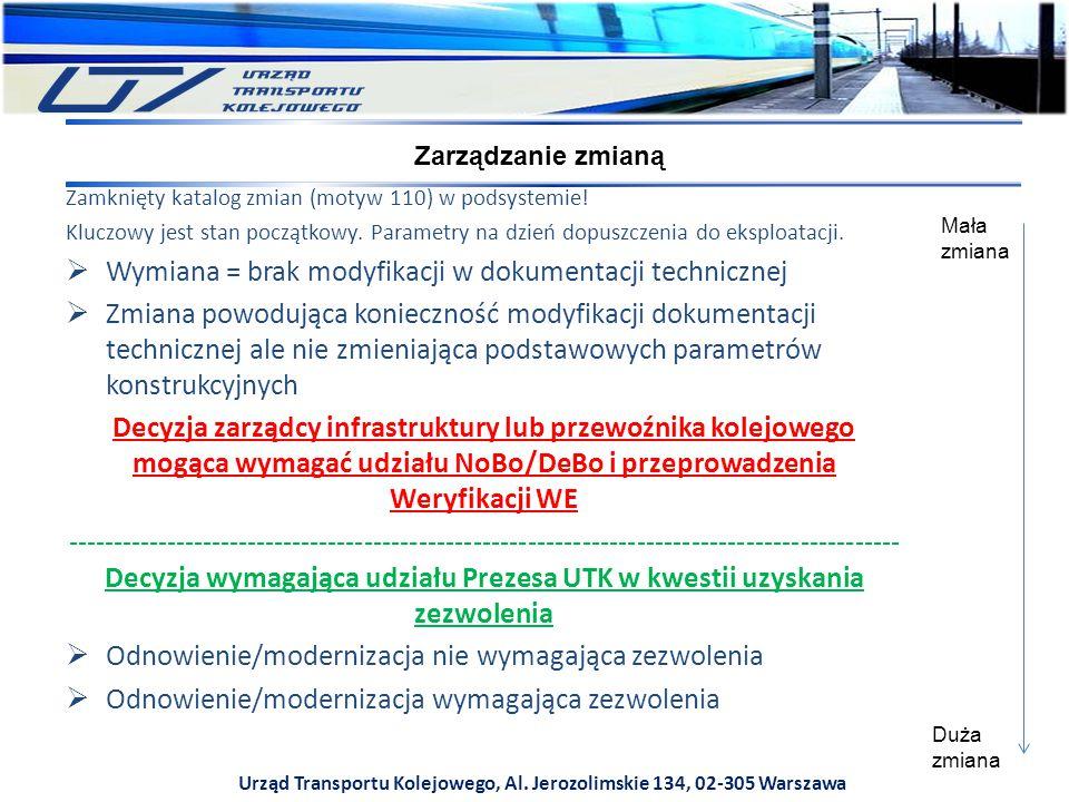 Urząd Transportu Kolejowego, Al. Jerozolimskie 134, 02-305 Warszawa Zarządzanie zmianą Zamknięty katalog zmian (motyw 110) w podsystemie! Kluczowy jes
