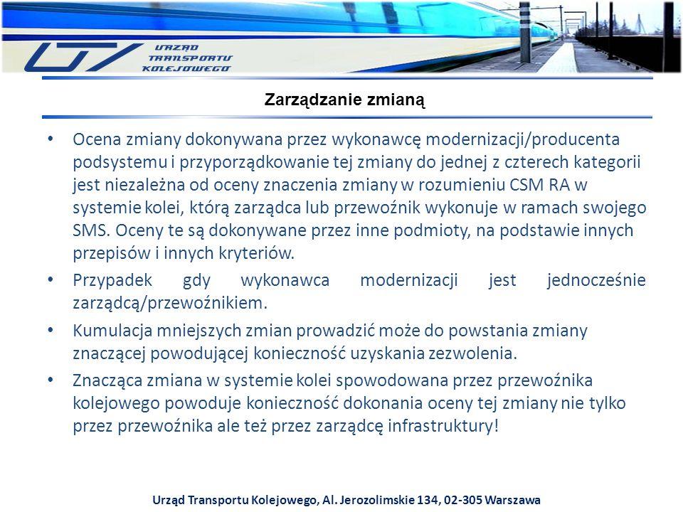 Urząd Transportu Kolejowego, Al. Jerozolimskie 134, 02-305 Warszawa Zarządzanie zmianą Ocena zmiany dokonywana przez wykonawcę modernizacji/producenta