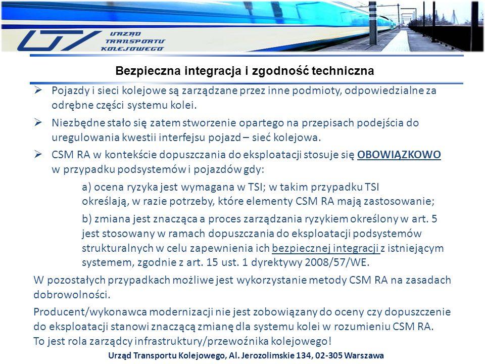 Urząd Transportu Kolejowego, Al. Jerozolimskie 134, 02-305 Warszawa Bezpieczna integracja i zgodność techniczna  Pojazdy i sieci kolejowe są zarządza