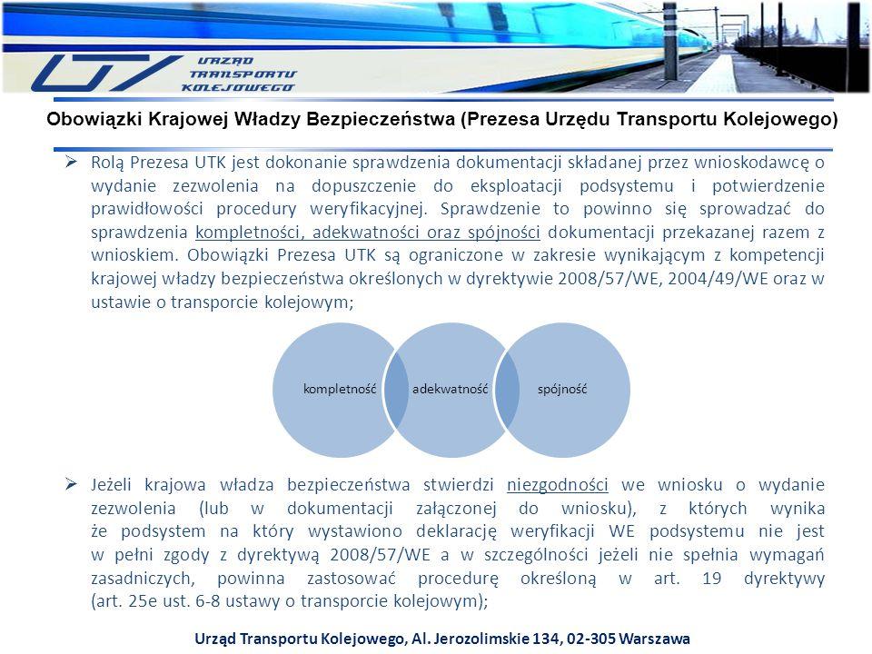 Urząd Transportu Kolejowego, Al. Jerozolimskie 134, 02-305 Warszawa  Rolą Prezesa UTK jest dokonanie sprawdzenia dokumentacji składanej przez wniosko