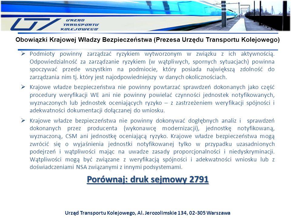 Urząd Transportu Kolejowego, Al. Jerozolimskie 134, 02-305 Warszawa  Podmioty powinny zarządzać ryzykiem wytworzonym w związku z ich aktywnością. Odp
