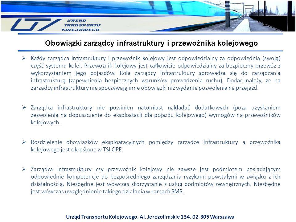 Urząd Transportu Kolejowego, Al. Jerozolimskie 134, 02-305 Warszawa  Każdy zarządca infrastruktury i przewoźnik kolejowy jest odpowiedzialny za odpow
