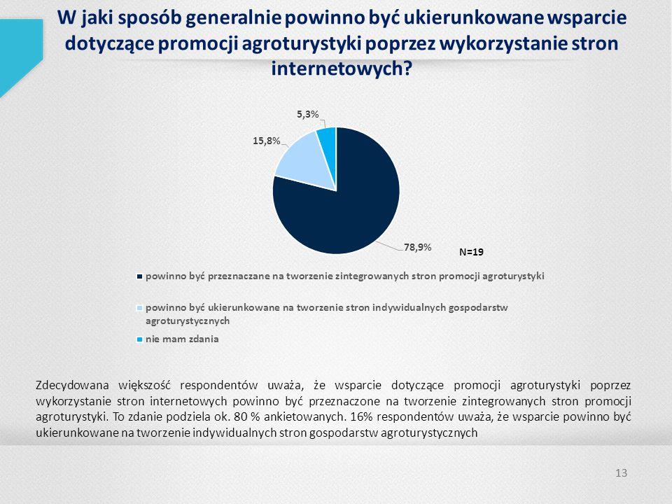 13 W jaki sposób generalnie powinno być ukierunkowane wsparcie dotyczące promocji agroturystyki poprzez wykorzystanie stron internetowych.