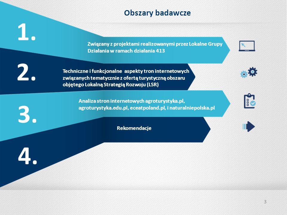33 Obszary badawcze Techniczne i funkcjonalne aspekty tron internetowych związanych tematycznie z ofertą turystyczną obszaru objętego Lokalną Strategią Rozwoju (LSR) Analiza stron internetowych agroturystyka.pl, agroturystyka.edu.pl, eceatpoland.pl, i naturalniepolska.pl Rekomendacje Związany z projektami realizowanymi przez Lokalne Grupy Działania w ramach działania 413 1.