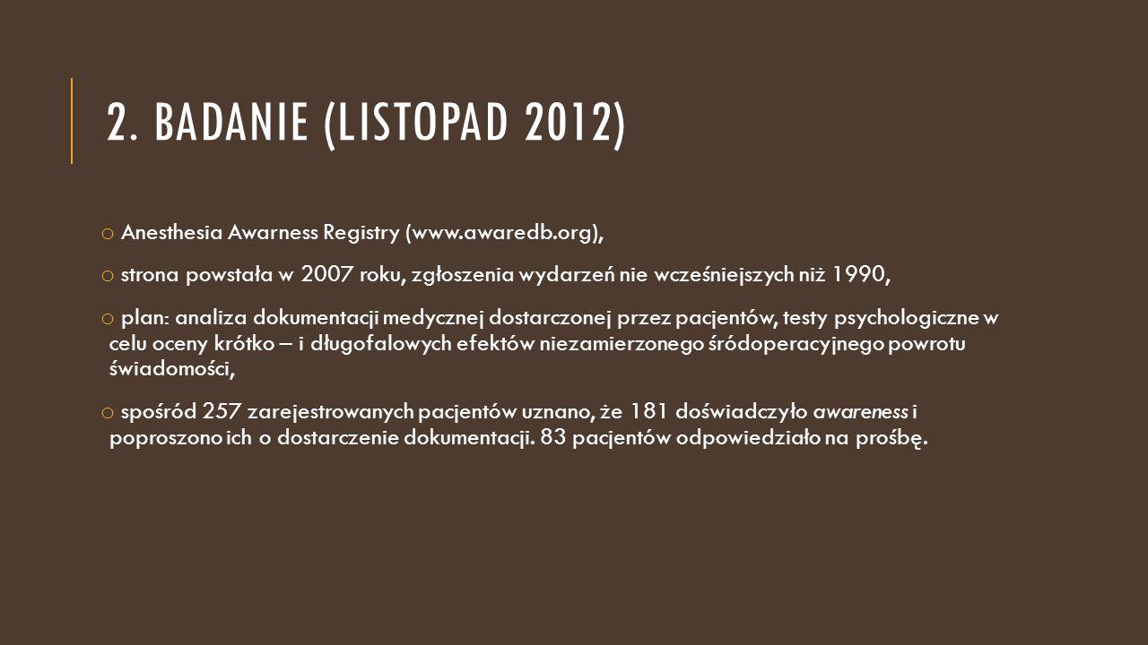 2. BADANIE (LISTOPAD 2012) o Anesthesia Awarness Registry (www.awaredb.org), o strona powstała w 2007 roku, zgłoszenia wydarzeń nie wcześniejszych niż