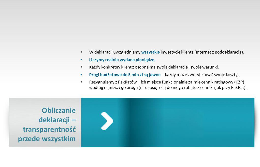W deklaracji uwzględniamy wszystkie inwestycje klienta (Internet z poddeklaracją).