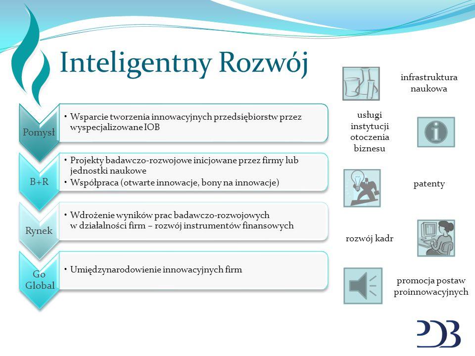 Inteligentny Rozwój Pomysł Wsparcie tworzenia innowacyjnych przedsiębiorstw przez wyspecjalizowane IOB B+R Projekty badawczo-rozwojowe inicjowane prze