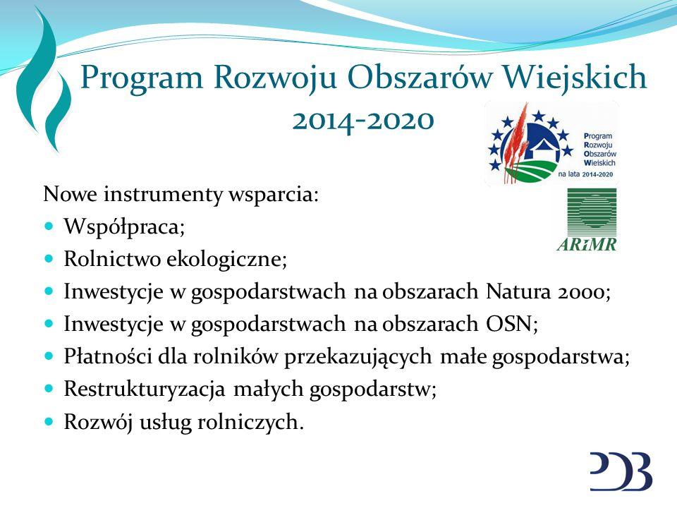 Program Rozwoju Obszarów Wiejskich 2014-2020 Nowe instrumenty wsparcia: Współpraca; Rolnictwo ekologiczne; Inwestycje w gospodarstwach na obszarach Na