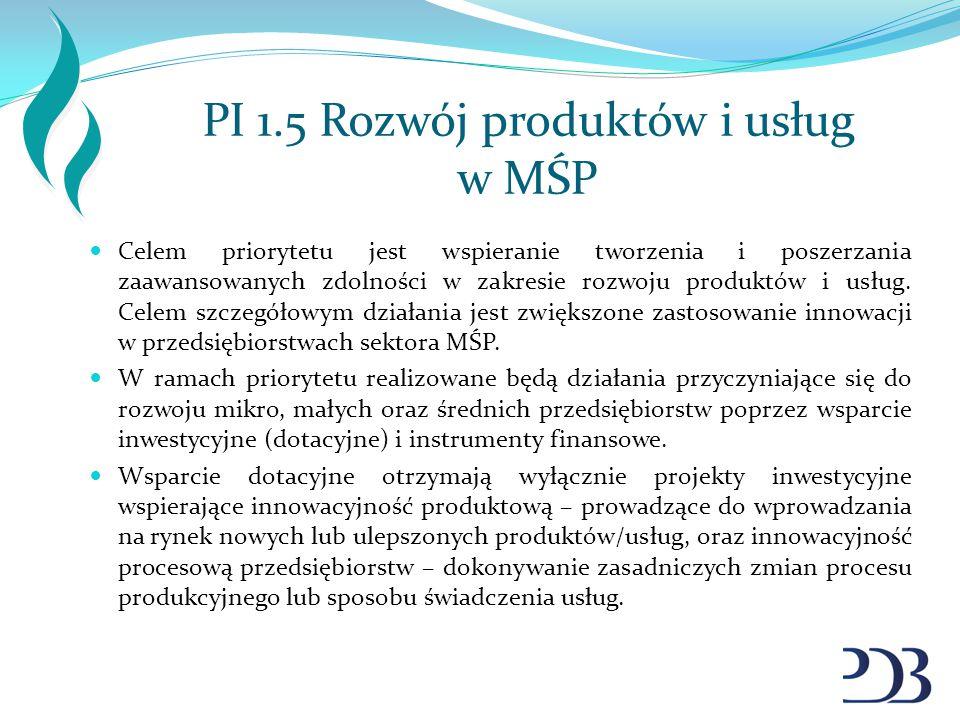 PI 1.5 Rozwój produktów i usług w MŚP Celem priorytetu jest wspieranie tworzenia i poszerzania zaawansowanych zdolności w zakresie rozwoju produktów i