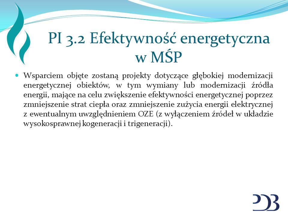 PI 3.2 Efektywność energetyczna w MŚP Wsparciem objęte zostaną projekty dotyczące głębokiej modernizacji energetycznej obiektów, w tym wymiany lub mod