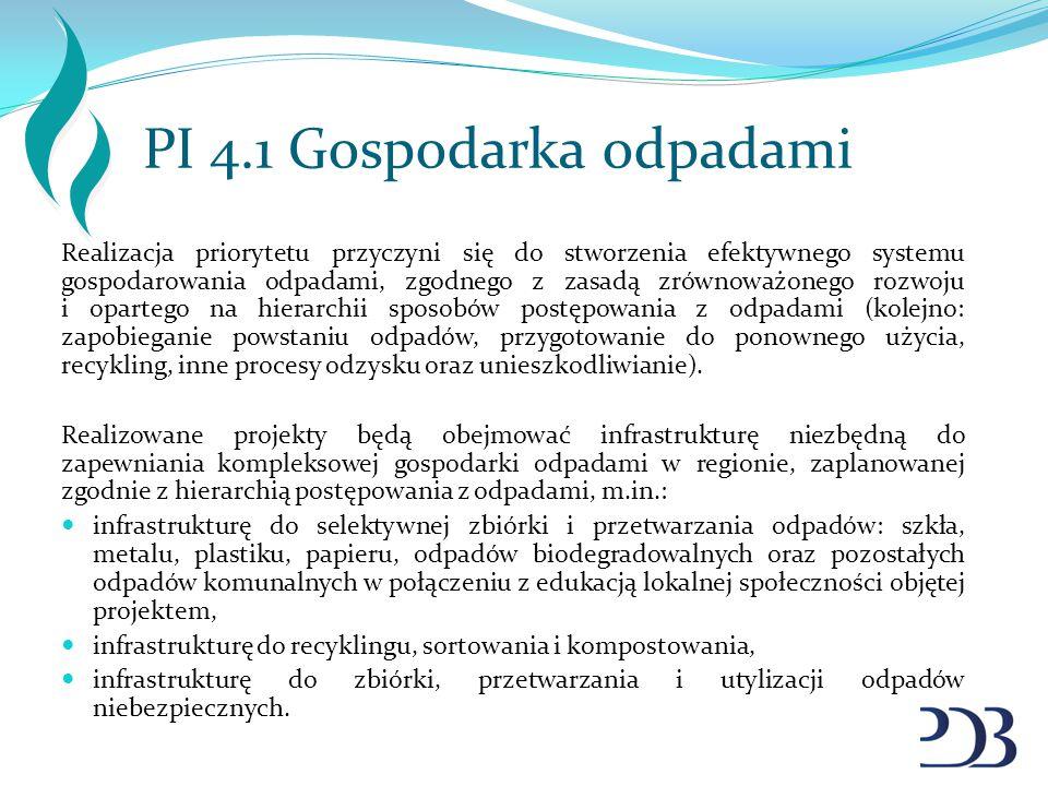 PI 4.1 Gospodarka odpadami Realizacja priorytetu przyczyni się do stworzenia efektywnego systemu gospodarowania odpadami, zgodnego z zasadą zrównoważo