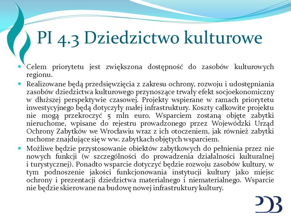 PI 4.3 Dziedzictwo kulturowe Celem priorytetu jest zwiększona dostępność do zasobów kulturowych regionu. Realizowane będą przedsięwzięcia z zakresu oc