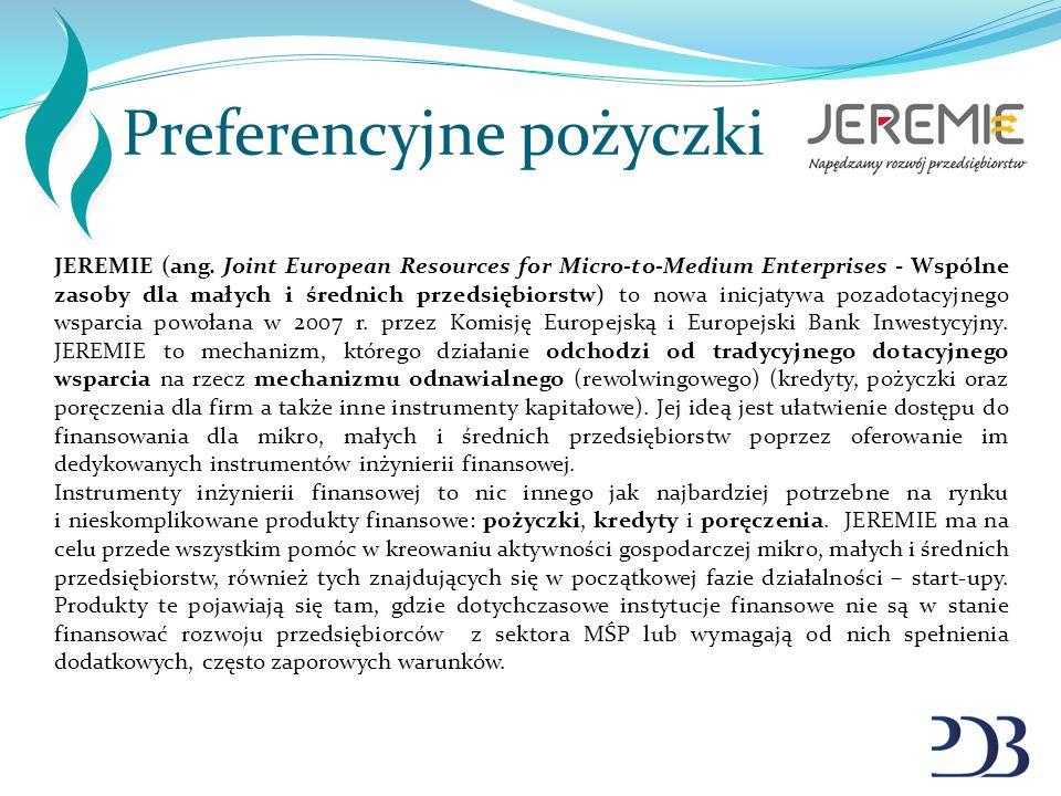 Preferencyjne pożyczki JEREMIE (ang. Joint European Resources for Micro-to-Medium Enterprises - Wspólne zasoby dla małych i średnich przedsiębiorstw)