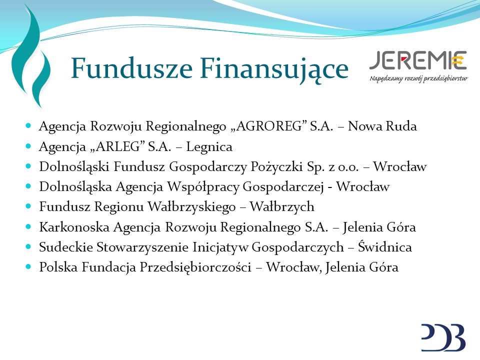 """Fundusze Finansujące Agencja Rozwoju Regionalnego """"AGROREG"""" S.A. – Nowa Ruda Agencja """"ARLEG"""" S.A. – Legnica Dolnośląski Fundusz Gospodarczy Pożyczki S"""