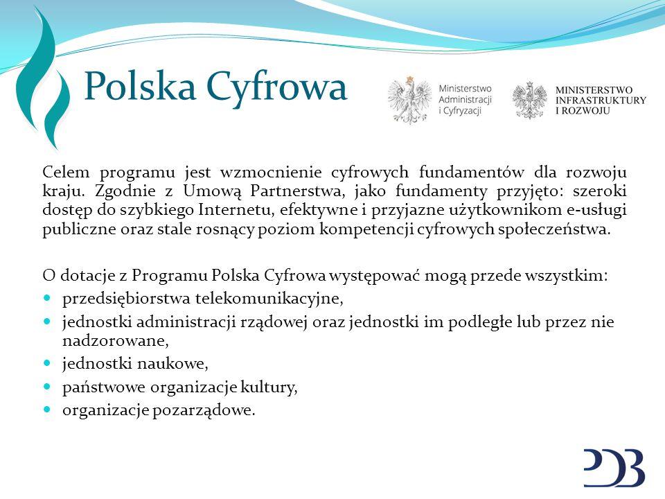 Polska Cyfrowa Celem programu jest wzmocnienie cyfrowych fundamentów dla rozwoju kraju. Zgodnie z Umową Partnerstwa, jako fundamenty przyjęto: szeroki