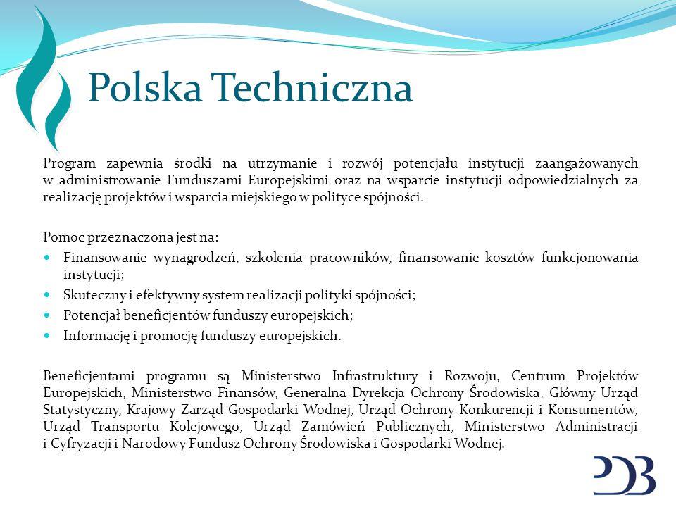 Polska Techniczna Program zapewnia środki na utrzymanie i rozwój potencjału instytucji zaangażowanych w administrowanie Funduszami Europejskimi oraz n