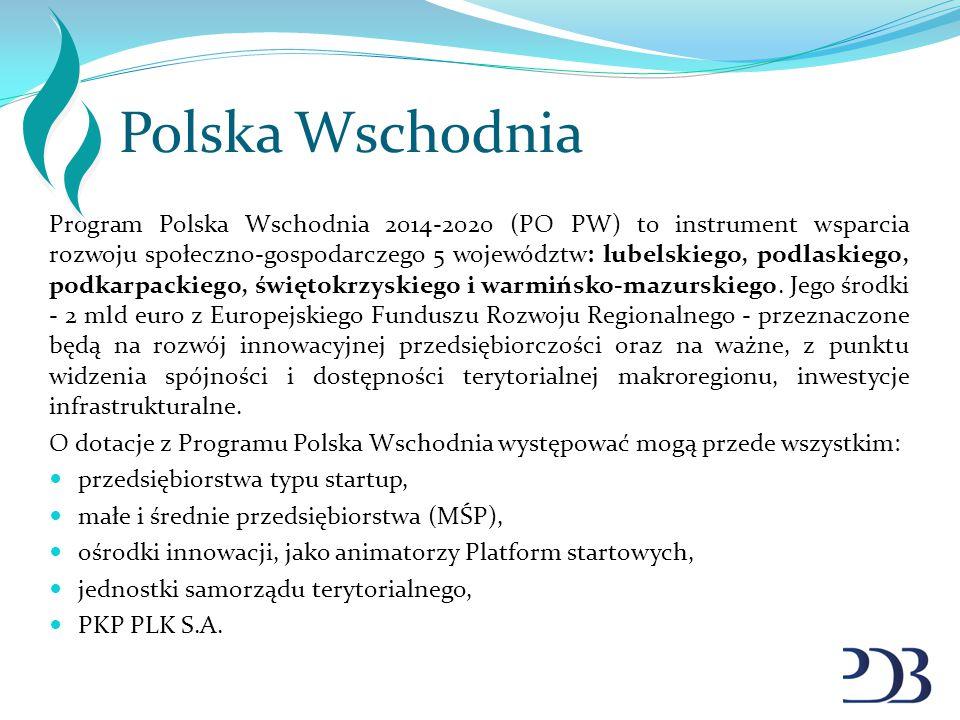 Polska Wschodnia Program Polska Wschodnia 2014-2020 (PO PW) to instrument wsparcia rozwoju społeczno-gospodarczego 5 województw: lubelskiego, podlaski
