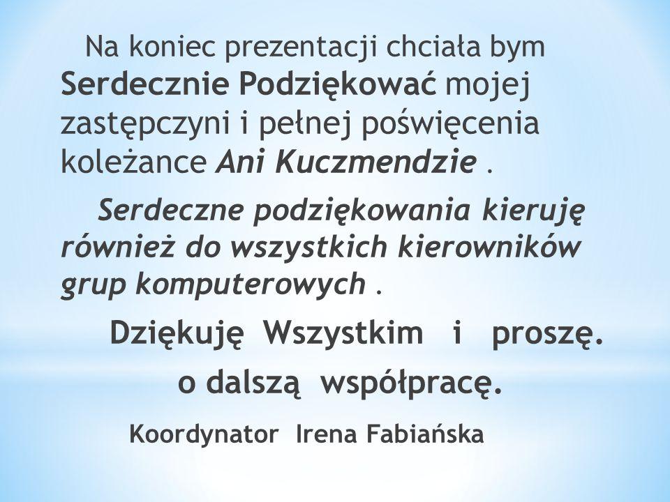 Na koniec prezentacji chciała bym Serdecznie Podziękować mojej zastępczyni i pełnej poświęcenia koleżance Ani Kuczmendzie.