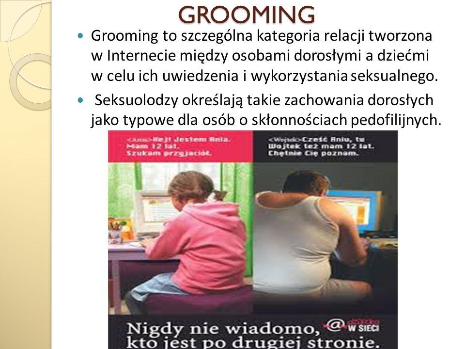 GROOMING GROOMING Grooming to szczególna kategoria relacji tworzona w Internecie między osobami dorosłymi a dziećmi w celu ich uwiedzenia i wykorzysta