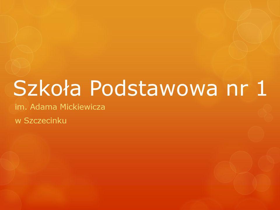 Szkoła Podstawowa nr 1 w Szczecinku Dzięki umiejscowieniu w pobliżu parku, w miłym, zielonym zakątku miasta, zachęca nie tylko swym wnętrzem i ofertą kształceniową, ale i przyjaznym dla oka otoczeniem.
