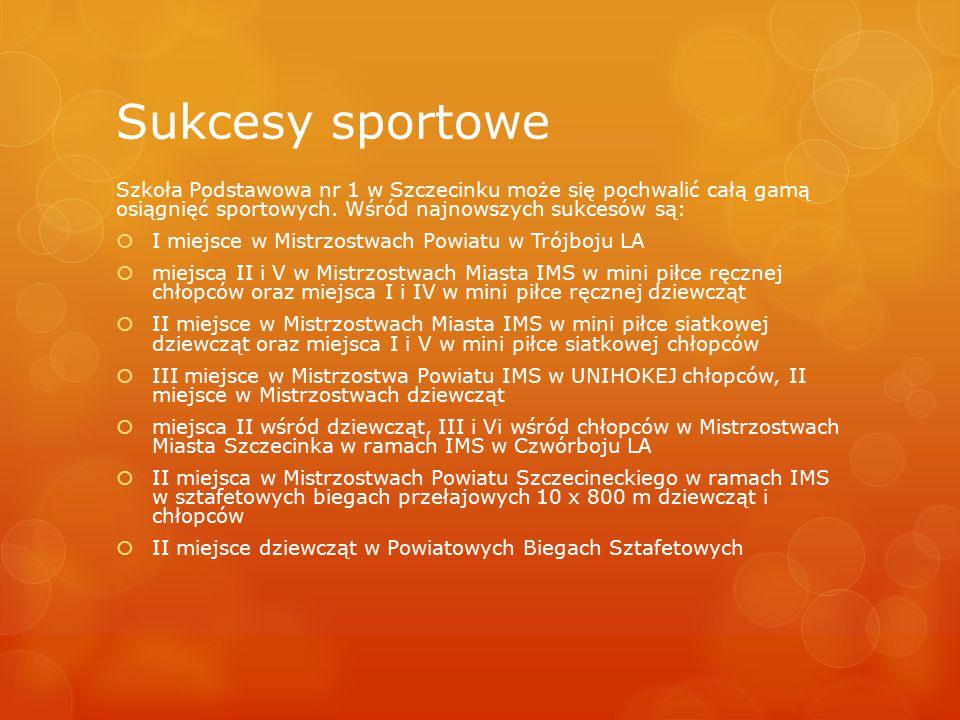 Sukcesy sportowe Szkoła Podstawowa nr 1 w Szczecinku może się pochwalić całą gamą osiągnięć sportowych. Wśród najnowszych sukcesów są:  I miejsce w M