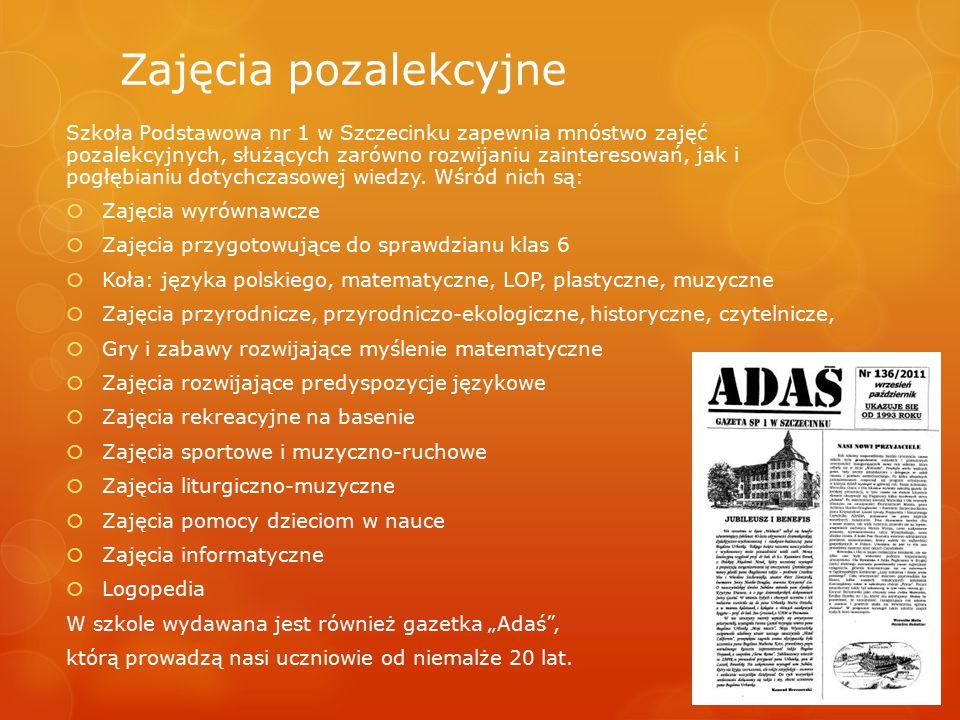 Zajęcia pozalekcyjne Szkoła Podstawowa nr 1 w Szczecinku zapewnia mnóstwo zajęć pozalekcyjnych, służących zarówno rozwijaniu zainteresowań, jak i pogł