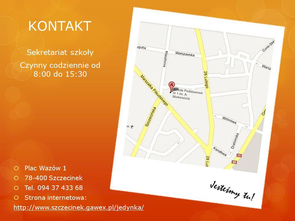 KONTAKT  Plac Wazów 1  78-400 Szczecinek  Tel. 094 37 433 68  Strona internetowa: http://www.szczecinek.gawex.pl/jedynka/ Sekretariat szkoły Czynn