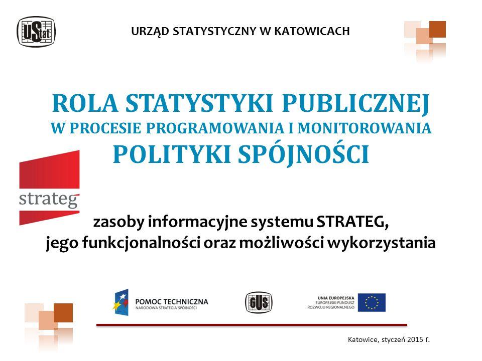 ROLA STATYSTYKI PUBLICZNEJ W PROCESIE PROGRAMOWANIA I MONITOROWANIA POLITYKI SPÓJNOŚCI URZĄD STATYSTYCZNY W KATOWICACH zasoby informacyjne systemu STR