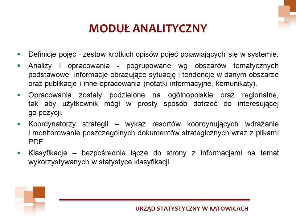 URZĄD STATYSTYCZNY W KATOWICACH MODUŁ ANALITYCZNY  Definicje pojęć - zestaw krótkich opisów pojęć pojawiających się w systemie.  Analizy i opracowan