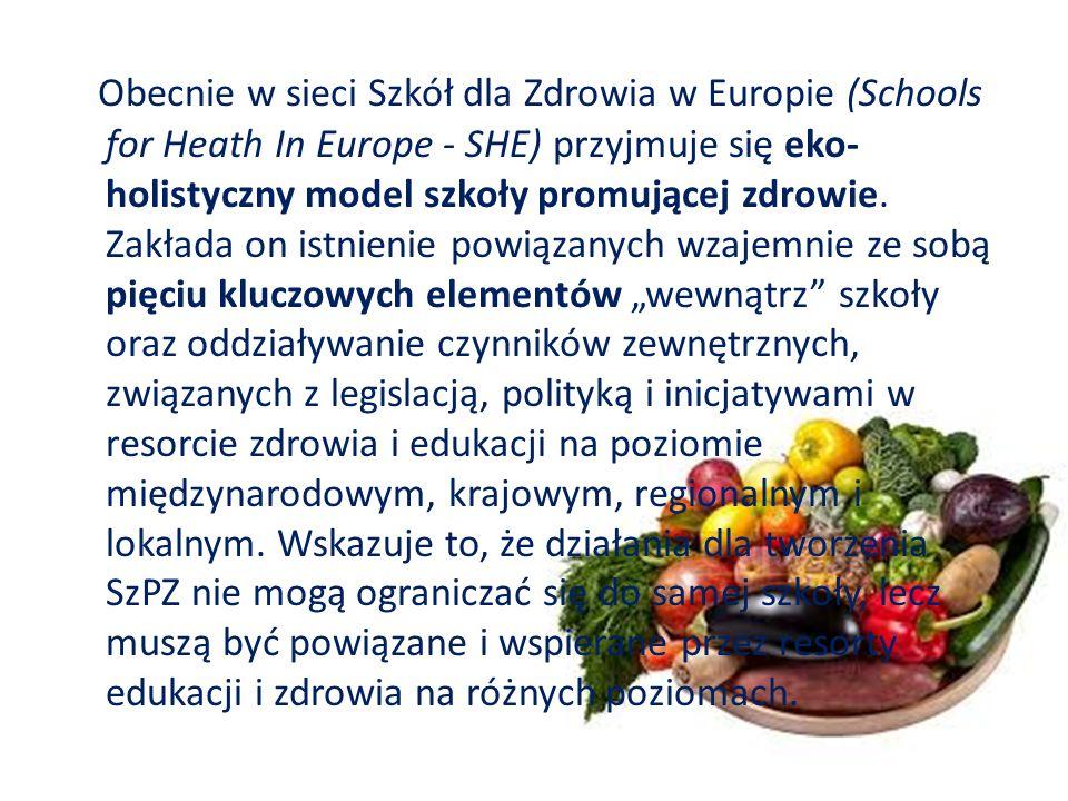 Obecnie w sieci Szkół dla Zdrowia w Europie (Schools for Heath In Europe - SHE) przyjmuje się eko- holistyczny model szkoły promującej zdrowie.