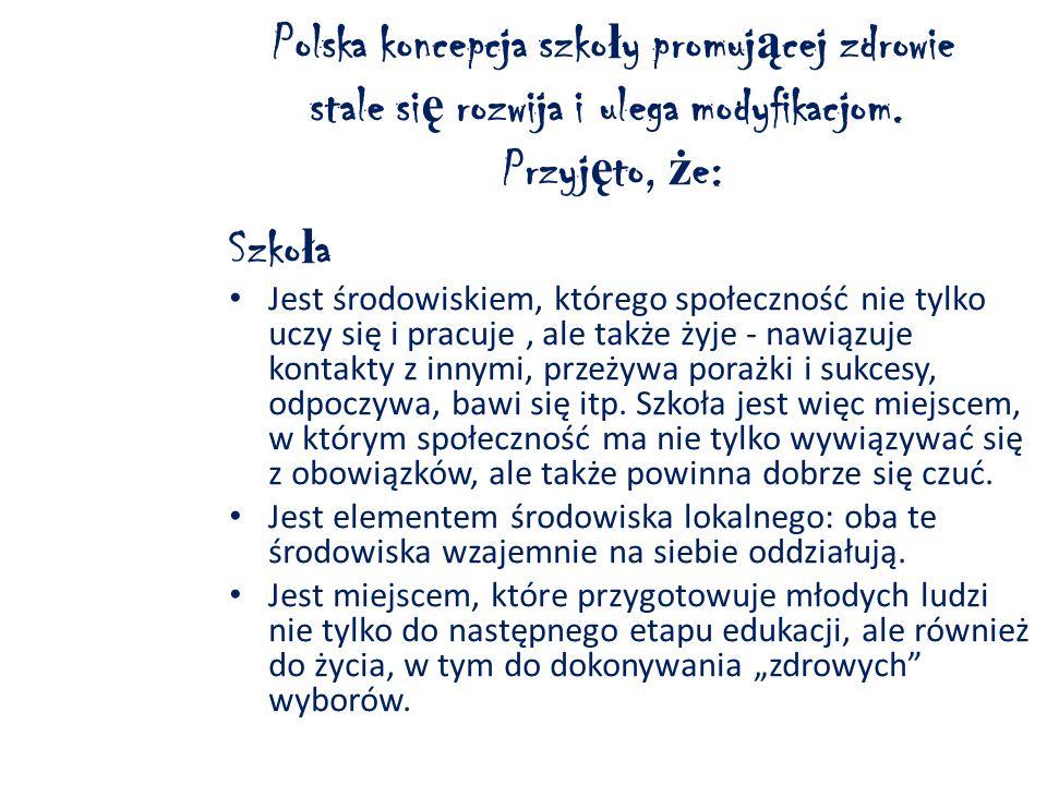 Polska koncepcja szko ł y promuj ą cej zdrowie stale si ę rozwija i ulega modyfikacjom.