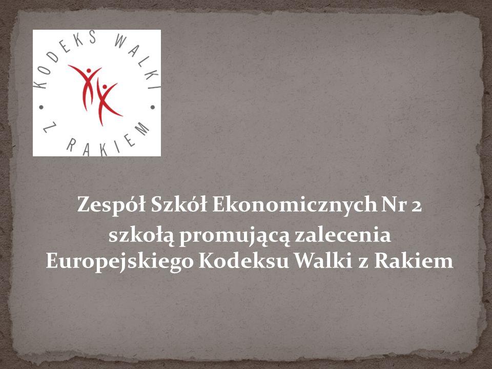 Zespół Szkół Ekonomicznych Nr 2 szkołą promującą zalecenia Europejskiego Kodeksu Walki z Rakiem