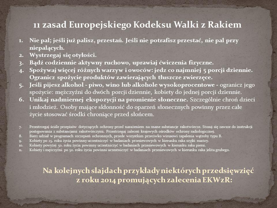 11 zasad Europejskiego Kodeksu Walki z Rakiem 1.Nie pal; jeśli już palisz, przestań. Jeśli nie potrafisz przestać, nie pal przy niepalących. 2.Wystrze