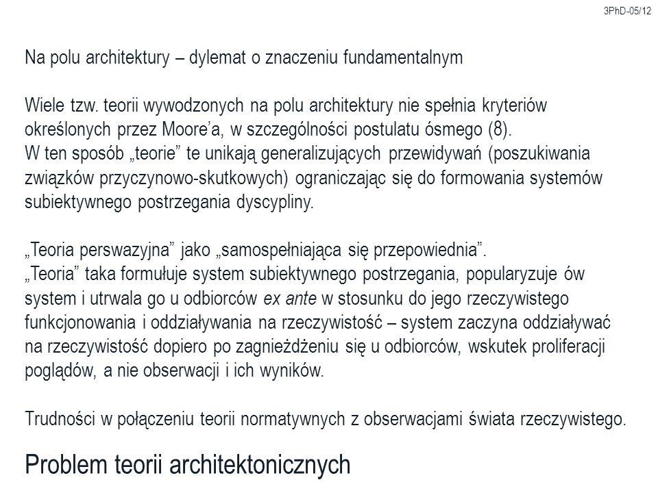 3PhD-05/12 Problem teorii architektonicznych Na polu architektury – dylemat o znaczeniu fundamentalnym Wiele tzw.