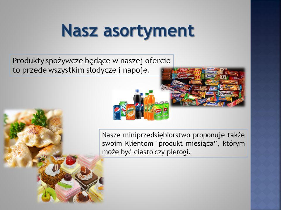 Produkty spożywcze będące w naszej ofercie to przede wszystkim słodycze i napoje.