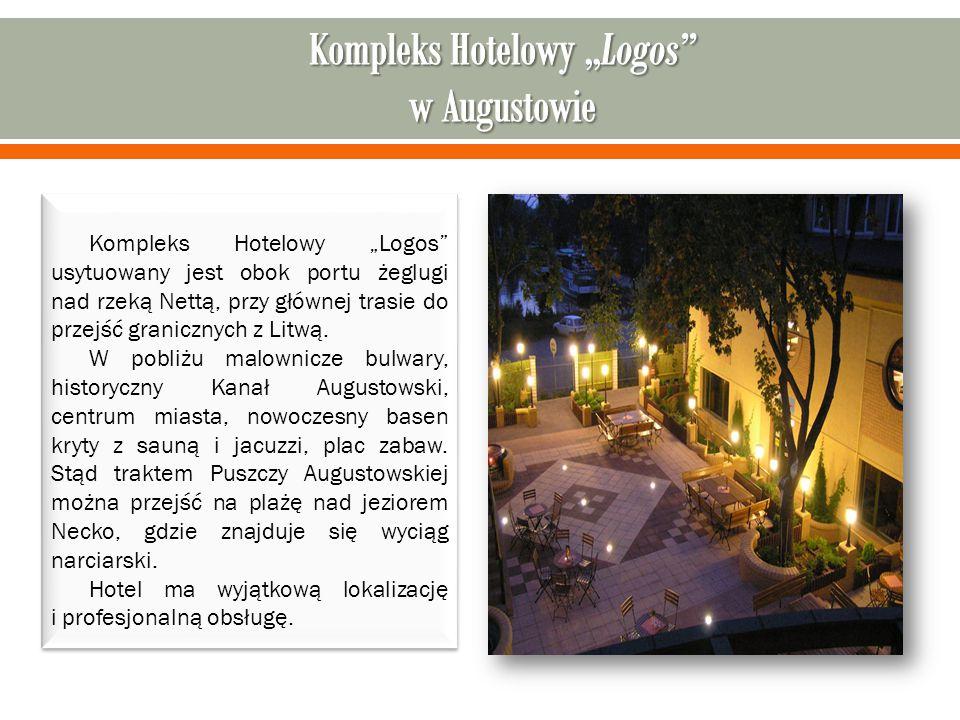 """Kompleks Hotelowy """"Logos usytuowany jest obok portu żeglugi nad rzeką Nettą, przy głównej trasie do przejść granicznych z Litwą."""