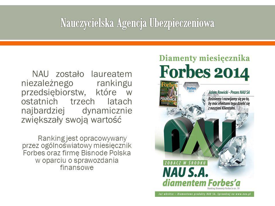 NAU zostało laureatem niezależnego rankingu przedsiębiorstw, które w ostatnich trzech latach najbardziej dynamicznie zwiększały swoją wartość Ranking jest opracowywany przez ogólnoświatowy miesięcznik Forbes oraz firmę Bisnode Polska w oparciu o sprawozdania finansowe