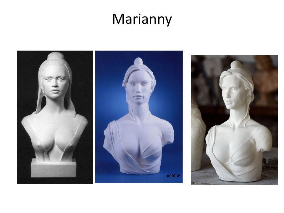 Marianne: alegoria Republiki wywodząca się z rewolucyjnej alegorii Wolności, przedstawiana na niebiesko-biało-czerwonym tle, z czapką frygijską na głowie.